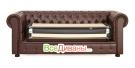 Прямой диван Честер (Chester) 3х местный, раскладной, коричневый механизм раскладывания