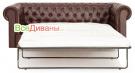 Прямой диван Честер (Chester) 3х местный, раскладной, коричневый в разложенном виде