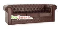 Прямой диван Честер (Chester) 3х местный, раскладной, коричневый