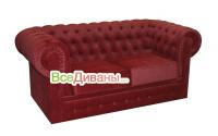 Прямой диван Честер 2х местный, раскладной, красный