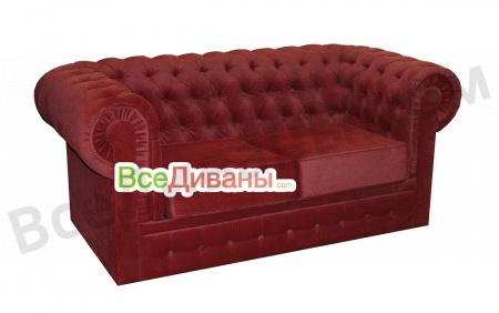 Прямой диван Честер 2х местный, раскладной, красный вид слева