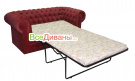 Прямой диван Честер 2х местный, раскладной, красный в разложенном виде