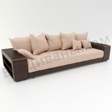 Прямой диван Дубай бежевая рогожка, вариант 1