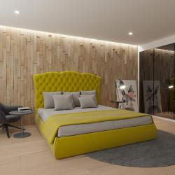 Мягкая кровать Барселона Yellow