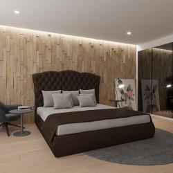 Мягкая кровать Барселона Эко Браун